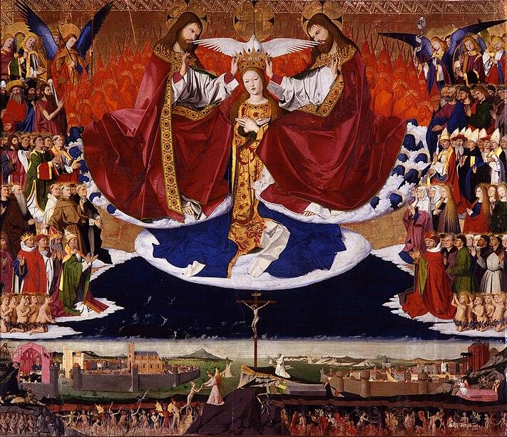 Coronation of the Virgin, altar of the Charterhouse of Villeneuve-lès-Avignon.  dans images sacrée 711px-Enguerrand_Quarton%2C_Le_Couronnement_de_la_Vierge_%281454%29