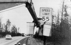 National Maximum Speed Law - 55 mph speed limit sign being erected in response to the National Maximum Speed Law.