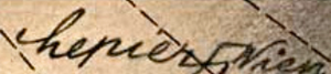 "The words ""Erich Lepier"" in script on an orangy background with diagonal lines. The ""r"" has a swastika added, connected to the word ""Wien"" on its right"