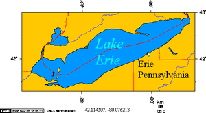 Erie PA on Lake Erie latitude 42.114507 longit...