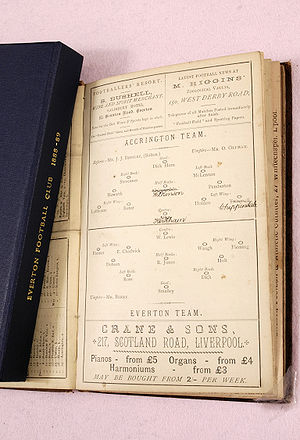 David France Collection - A programme from Everton's first ever Football League match against Accrington on the first day of the first season on 8 September 1888.