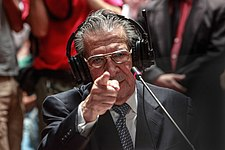 Ex General Efrain Rios Montt testifying during the trial.jpg