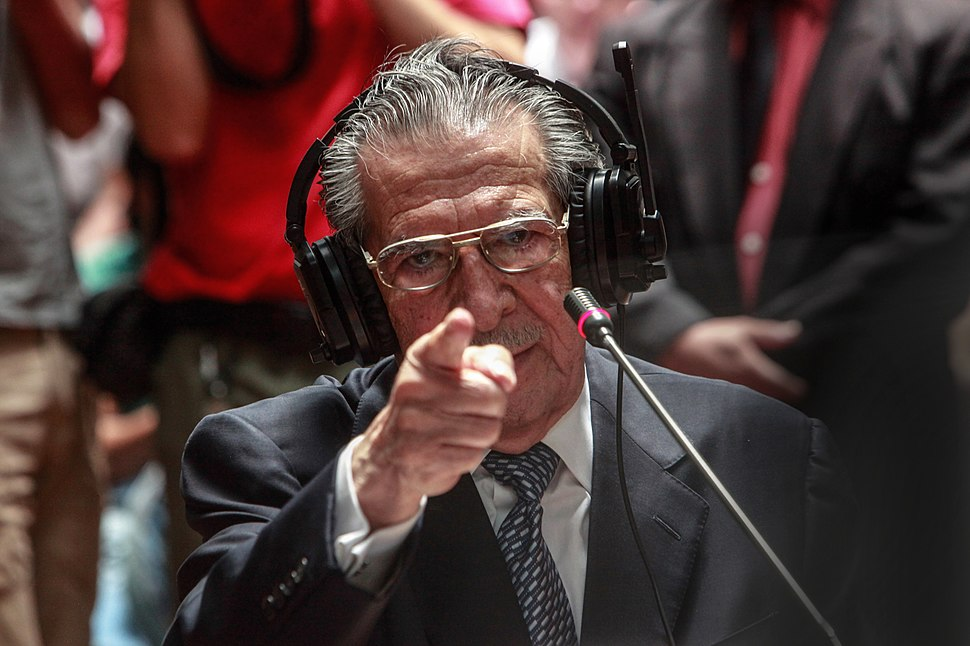 Ex General Efrain Rios Montt testifying during the trial