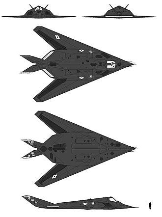 Lockheed F-117 Nighthawk - Schematic diagram and size comparison of Lockheed F-117A