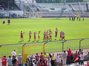FC Bayern Munich II - Bayern Munich II celebrate a victory at the Grünwalder Stadion in 2008.