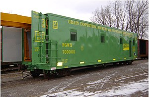 Grain Inspection, Packers and Stockyards Administration - GIPSA's unit FGWX700000, one of two railroad cars that replaced two 50 year old test car units