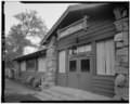 FRONT ENTRANCE DETAIL; VIEW TO NORTHEAST - Zion National Park, Zion Inn, Springdale, Washington County, UT HABS UTAH,27-SPDA.V,7A-6.tif