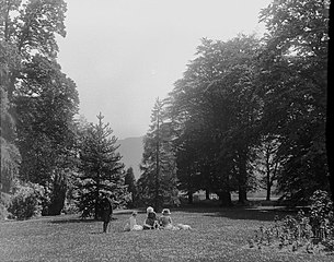 Family picnic in lawned gardens