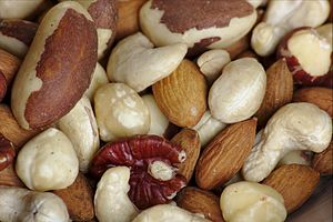 "Nut (fruit) - Raw mixed nuts, sold as a snack food. This is a ""fancy"" mix, meaning that it does not include peanuts."