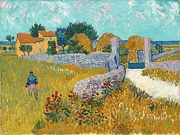 Oil painting. A field with a standing man, a wall with some flowers joining a path coming from the right then turning left towards a house