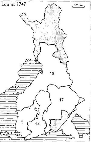 Provinces of Finland - Provinces of Finland 1747: 1: Turku and Pori, 14: Nyland and Tavastehus, 17: Savolax and Kymmenegård, 18: Ostrobothnia
