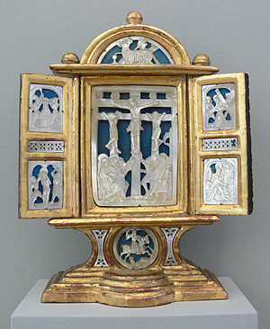 Altarpiece with carved nacre