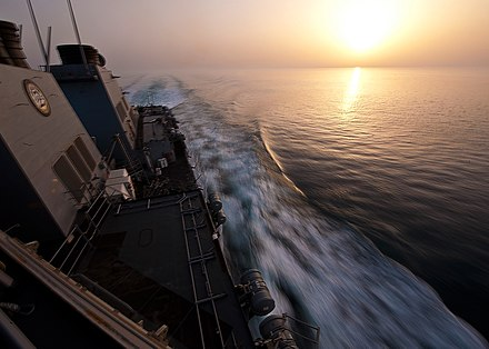 The guided-missile destroyer USS Porter transits the Strait of Hormuz in May 2012. Porter is deployed to the U.S. 5th Fleet Flickr - Official U.S. Navy Imagery - USS Porter transits the Strait of Hormuz..jpg
