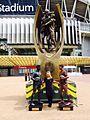 Football Human Statues at The NRL Cowboys Vs Broncos Human Statue Bodyart (21995036801).jpg