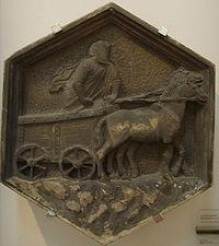 Il carro di Tespi, formella del Campanile di Giotto, Nino Pisano, 1334-1336, Firenze