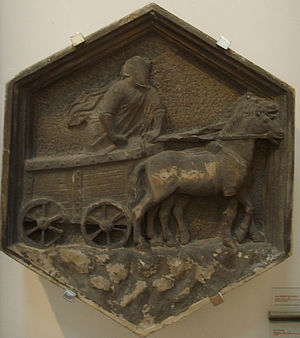 Thespis - Thespis' wagon, relief of the Giotto's Belltower in Florence, Italy, Nino Pisano, 1334–1336