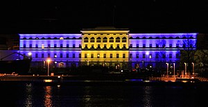 2017 Stockholm attack - Finland's Ministry for Foreign Affairs, lit up in the colors of the Swedish flag, in order to commemorate the victims