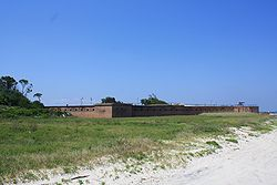 Fort Gaines and seashore vegetation on the eastern end of Dauphin Island
