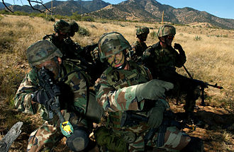 Battle Dress Uniform - U.S. Air Force Security Forces Defenders train at Fort Huachuca, Arizona in October 2004, wearing BDUs.