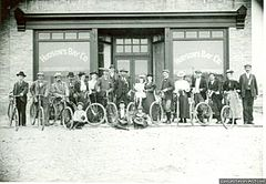 Fort Qu'Appelle cycling club before Hudson's Bay store, 1898.jpg