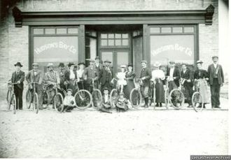 Fort Qu'Appelle - Fort Qu'Appelle cycling club before Hudson's Bay store, 1898