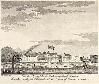 1769 Transit of Venus observed from Tahiti - Fort Venus located on the Island of Tahiti