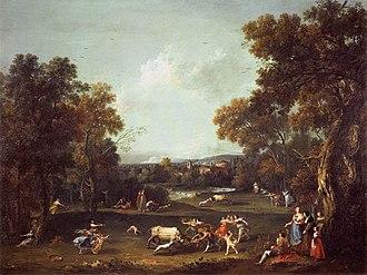 Francesco Zuccarelli - Bull Hunting. Gallerie dell'Accademia, Venice. Early 1770s.