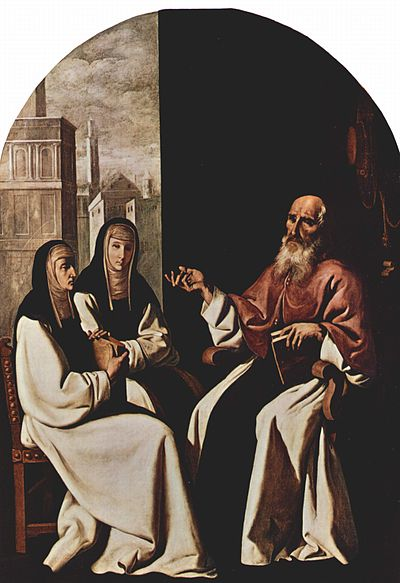 Saint Jerome with Saint Paula and Saint Eustochium (painting of Francisco de Zurbaran at National Gallery of Art in Washington). Francisco de Zurbaran 043.jpg