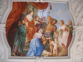 Salomonsoordeel, fresco in Styria (Oostenrijk)