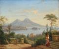 Frederik Storch - Italiensk kystparti med en ung kvinde på en trappe. I horisonten Vesuv - 1871.png