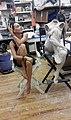 French-Mexican actress Yadira Pascault Orozco with body casts of herself used to create The Midpoint, a hand-patinated hyperrealist sculpture by Carole Feuerman based on Pascault Orozco's likeness. New York July 2016 -4.jpg