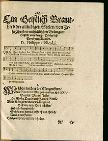"title page of the 1599 first publication of the hynm ""Wie schön leuchtet der Morgenstern"", showing a title in carefully calligraphed writing"