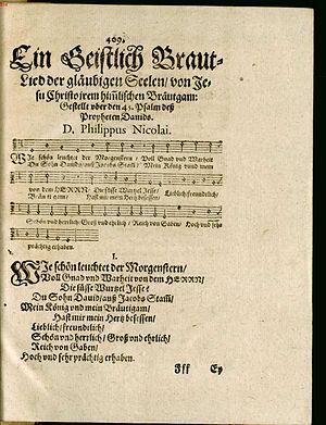 Wie schön leuchtet der Morgenstern - First publication in Nicolai's 1599 Frewdenspiegel deß ewigen Lebens