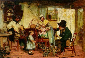David Henry Friston - Friston's canvas The Toy Seller, c. 1869