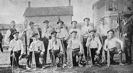 "Richmond Hill ""Young Canadians"" lacrosse team, 1885. From rattlesnake hunt to hockey page 121 cropped.jpg"