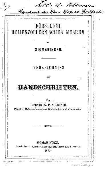 File:Fuerstlich Hohenzollernsches Museum zu Sigmaringen-Verzeichniss der Handschriften.pdf