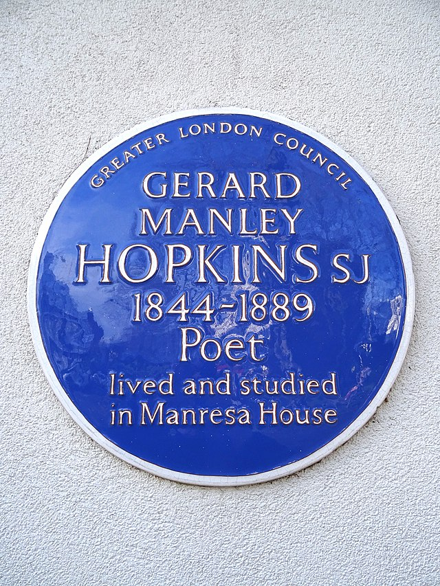 Gerard Manley Hopkins blue plaque - Gerard Manley Hopkins SJ 1844-1889 poet lived and studied in Manresa House