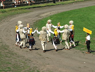 Serbian traditional clothing - Serbian Dance group from Sombor dancing Kolo in East Serbian folk attire