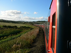 The view from the front of Coach A on a GNER Intercity 125 on a service along the Tyne Valley Line between Newcastle upon Tyne and Carlisle.