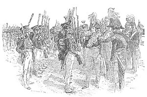 Guards Rifles Battalion - Frederick William IV taking the salute of the guards rifles (drawing by Louis Dunki, 1890)