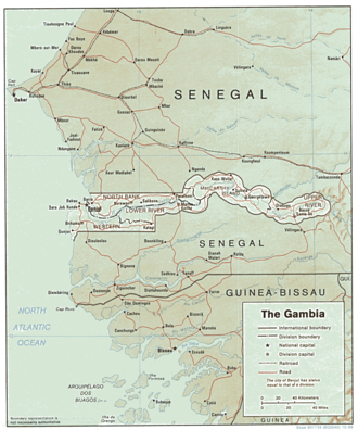 Geography of the Gambia - Map of the Gambia