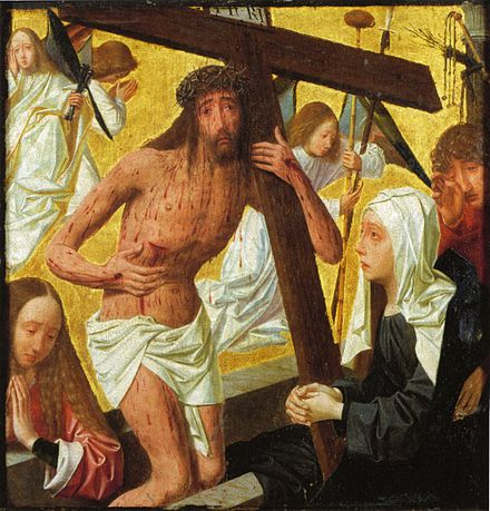 Christ as the Man of Sorrows, with Arma Christi.  Netherlands, ca. 1486