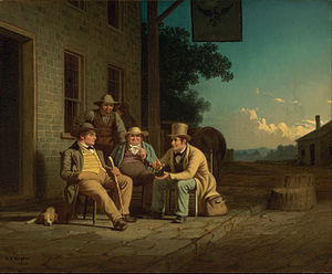 Canvassing - George Caleb Bingham's positive portrayal of a candidate canvassing in the United States in 1852