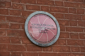 George Francis FitzGerald - Plaque at 7 Ely Place, Dublin, where FitzGerald lived