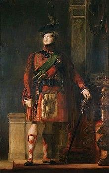 Georg IV. im Kilt während des Besuchs in Schottland, 1822 (Quelle: Wikimedia)