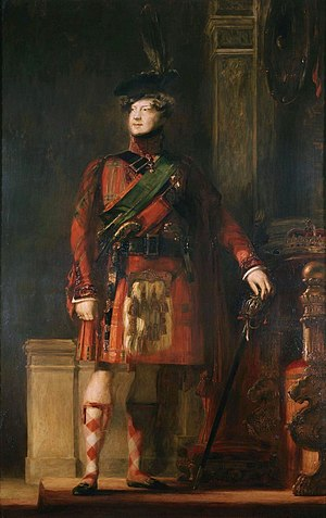 Visit of King George IV to Scotland - David Wilkie's flattering portrait of the kilted King George IV, with lighting chosen to tone down the brightness of his kilt and his knees shown bare, without the pink tights he actually wore at the event.