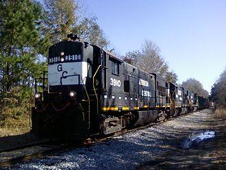 Garden City, Georgia - This Georgia Central Railway train transports merchandise at Telfair Road.