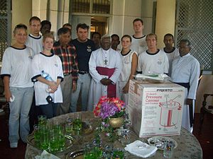 Jaffna Peninsula - Bishop of Jaffna with German tsunami relief mission team members of AGSEP in January, 2005.