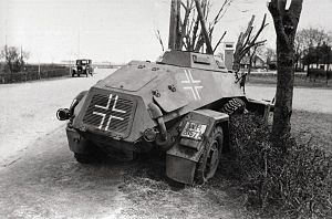 German invasion of Denmark (1940) - A German Leichter Panzerspähwagen knocked out in Bredevad