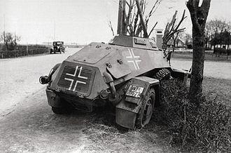 German invasion of Denmark (1940) - A German Leichter Panzerspähwagen knocked out in Bredevad